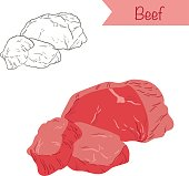 Hand drawn outlined and colored vector beef