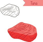 Hand drawn outlined and colored vector tuna fillet