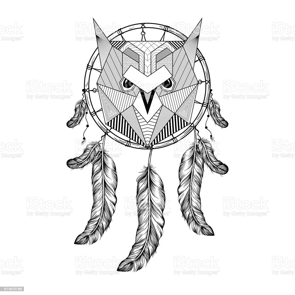 Hand Drawn Owl Bird On Dream Catcher Stock Vector Art