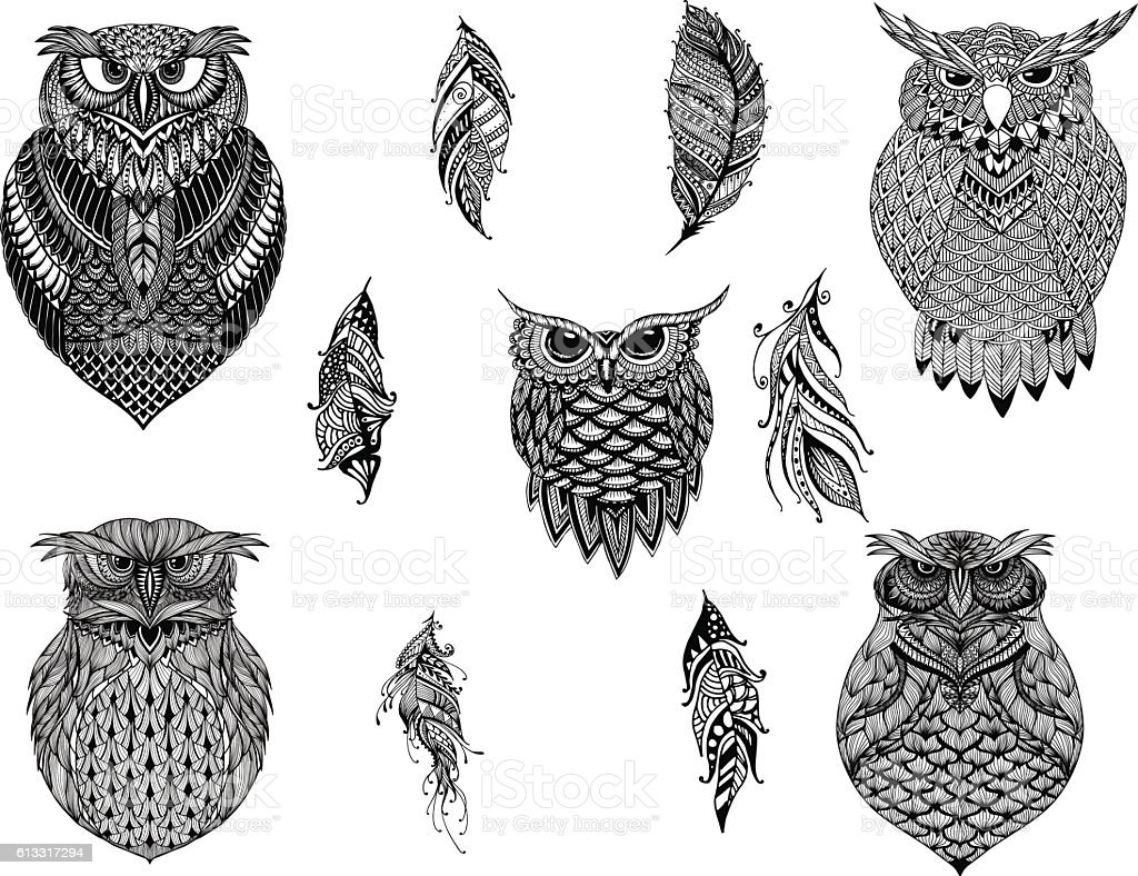 hand drawn zentangle owl coloring page tattoo stock vector art
