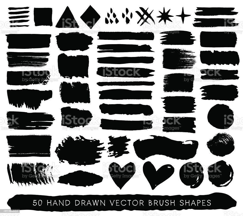 Hand drawn paint grunge brush strokes, drops and shapes. vector art illustration