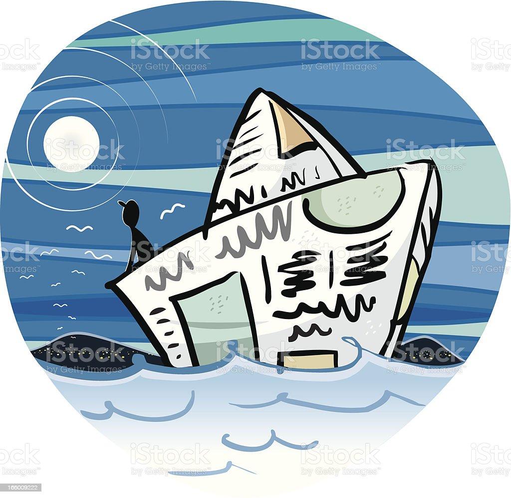 hand drawn paper boat royalty-free stock vector art