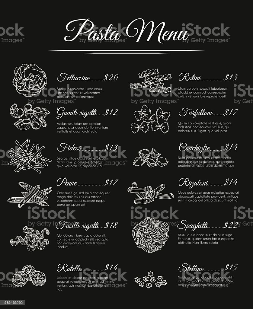 Hand drawn pasta menu vector art illustration