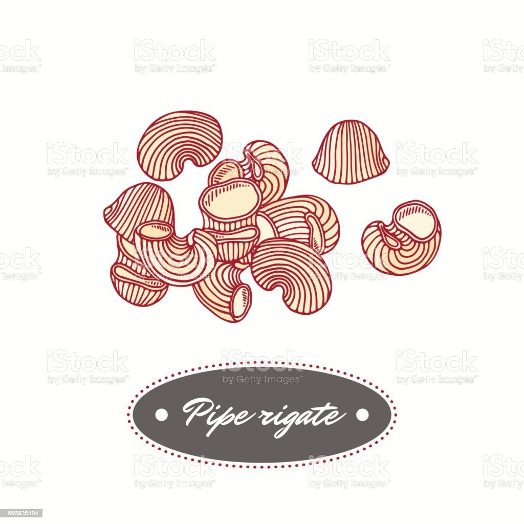 Hand drawn pasta pipe rigate isolated on white. Element for restaurant or food package design vector art illustration