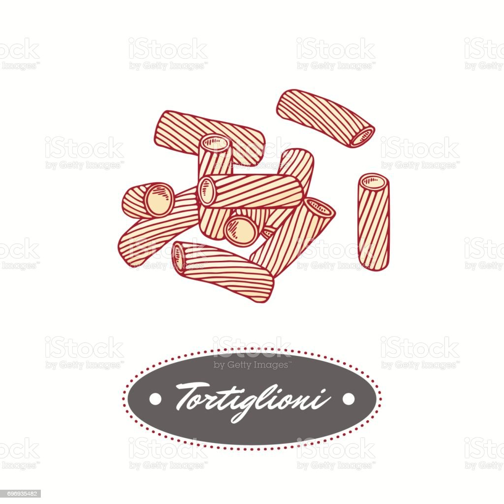 Hand drawn pasta tortiglioni - tortellini isolated on white. Element for restaurant or food package design vector art illustration