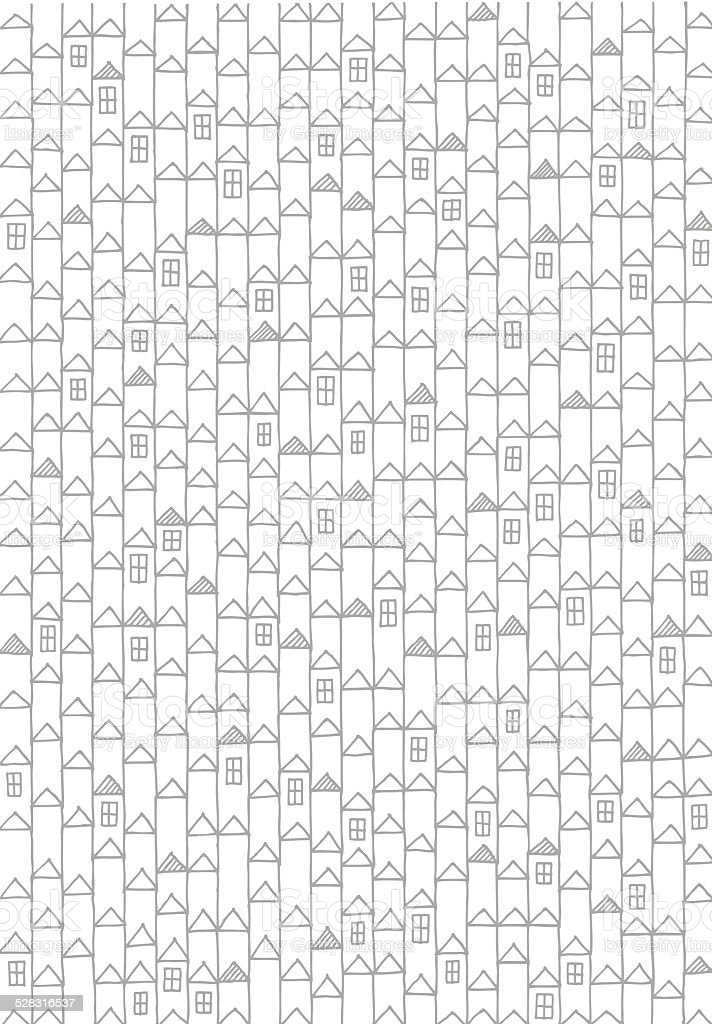 Hand drawn pattern of houses background vector art illustration