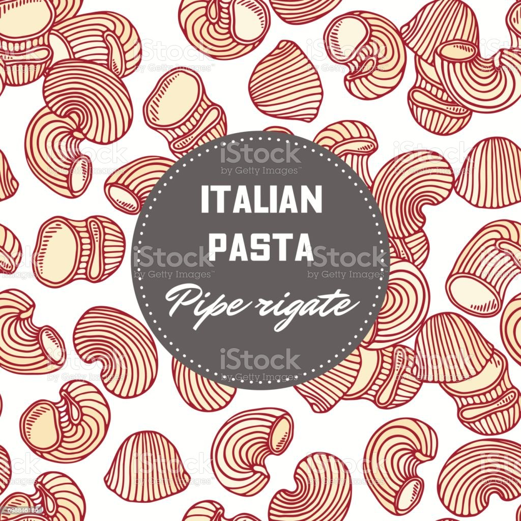 Hand drawn pattern with pasta pipe rigate. Background for food package design vector art illustration