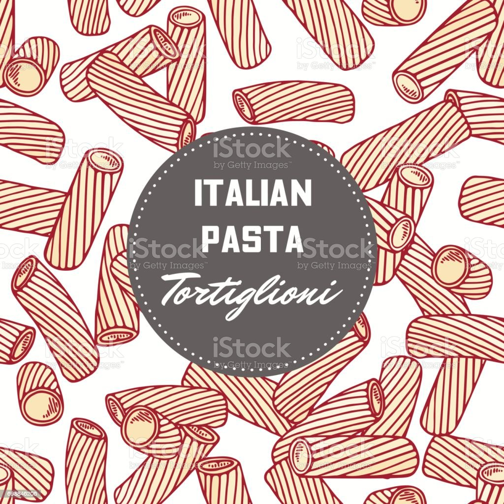 Hand drawn pattern with pasta tortiglioni - tortellini. Background for food package design vector art illustration