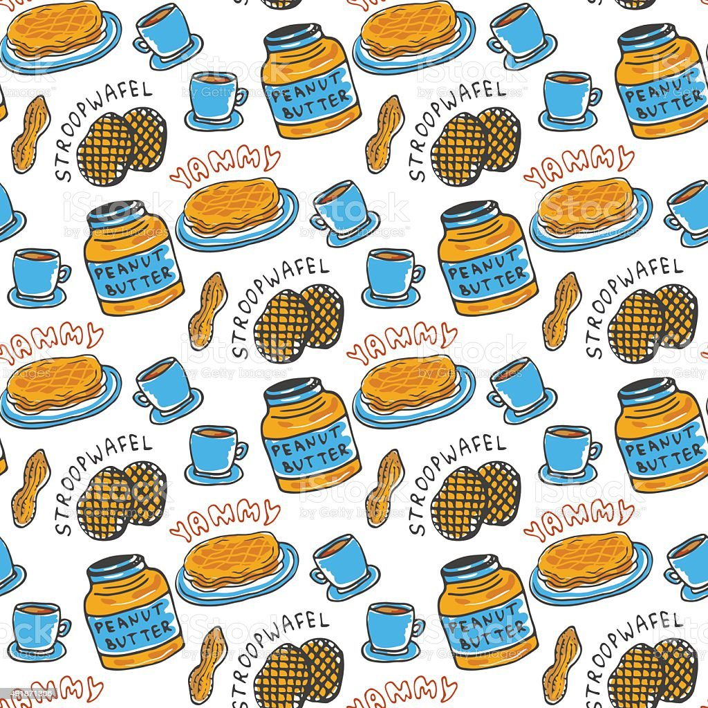 Hand drawn peanut butter seamless pattern. Vector background vector art illustration