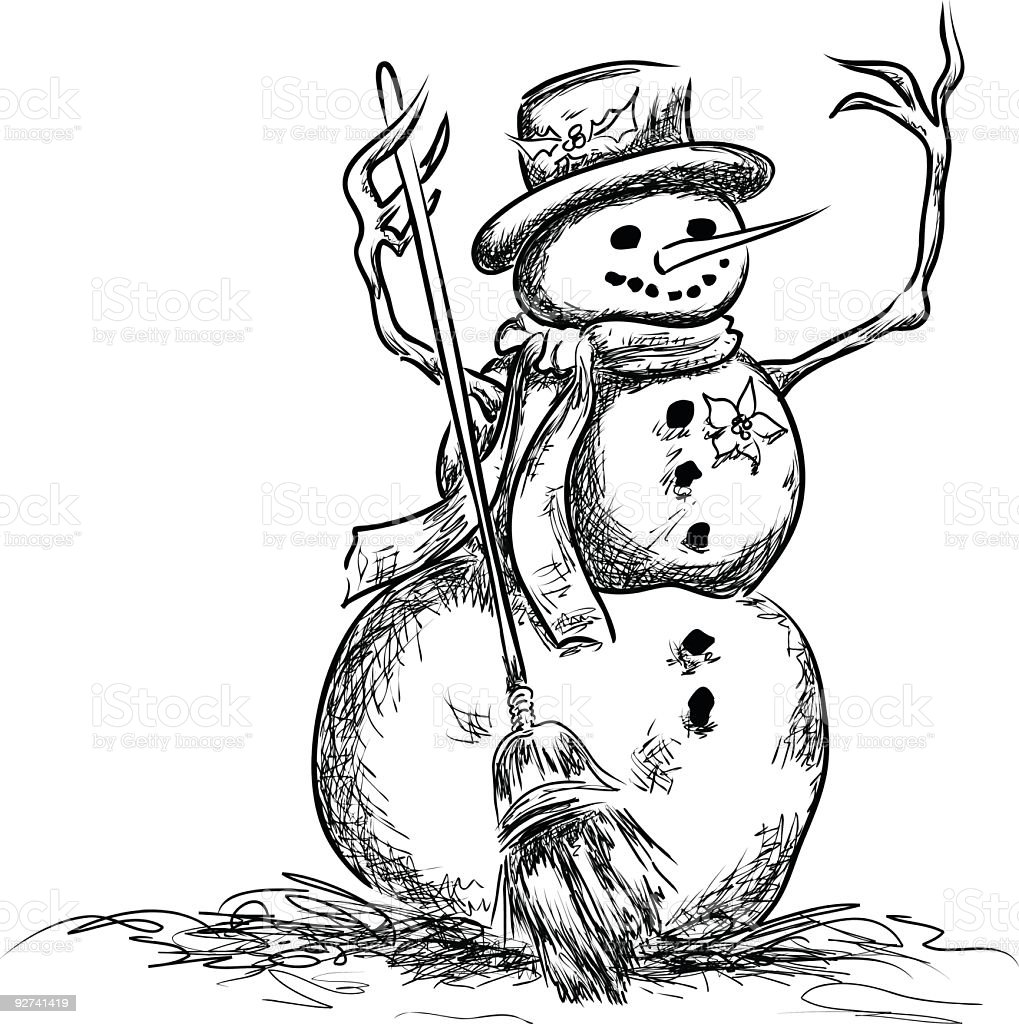 Hand drawn Pen and Ink Style Snowman Illustration royalty-free stock vector art