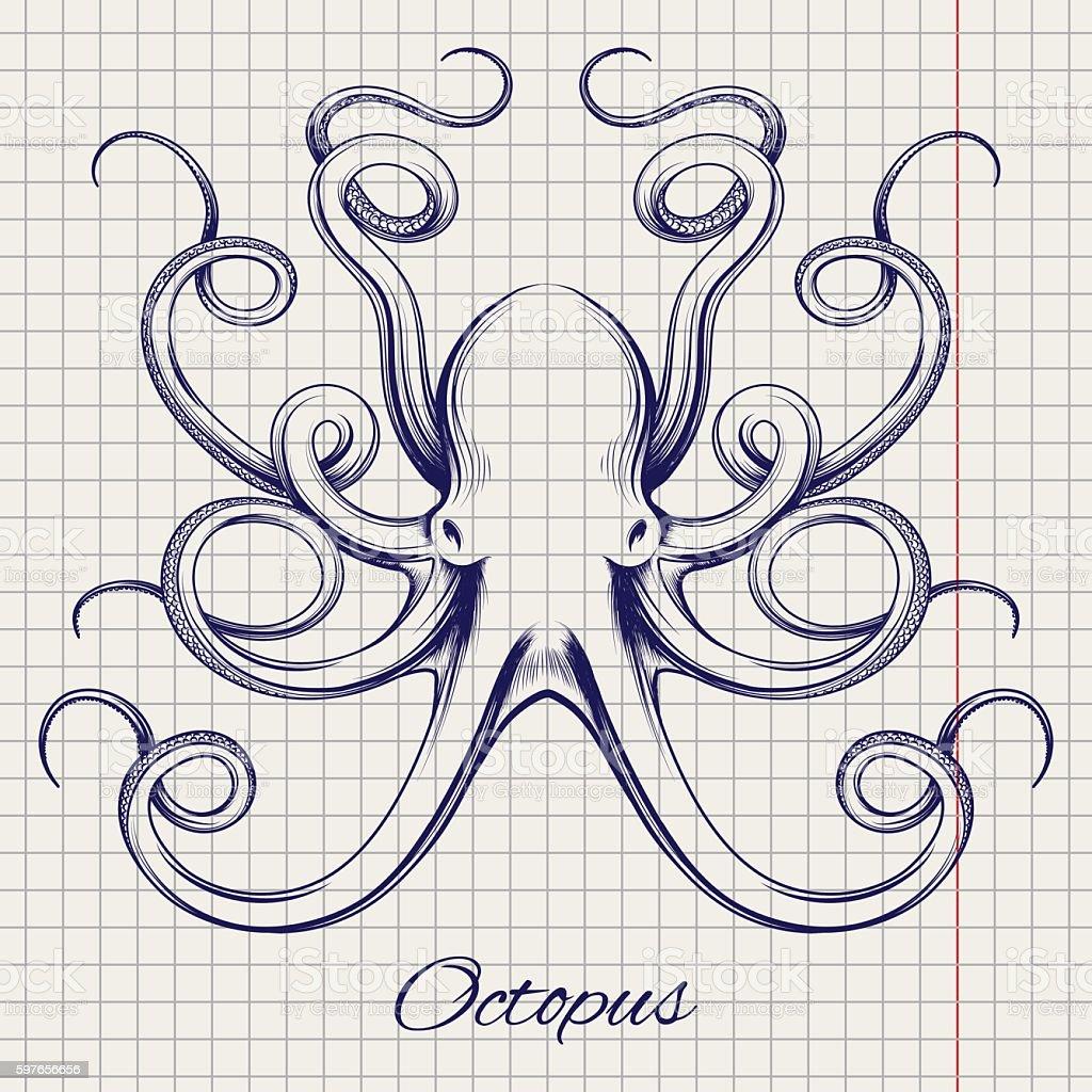 Hand drawn pen sketch octopus vector art illustration