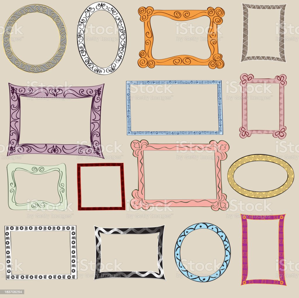 Hand drawn picture frame vector collection. royalty-free stock vector art
