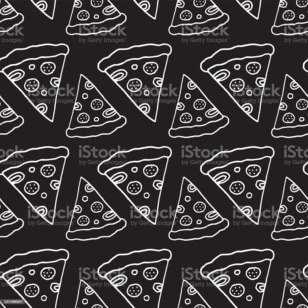 Hand Drawn Pizza Seamless Pattern vector art illustration