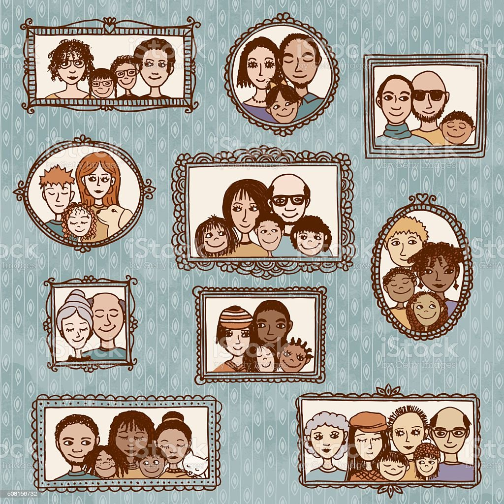 Hand drawn portraits of diverse families vector art illustration