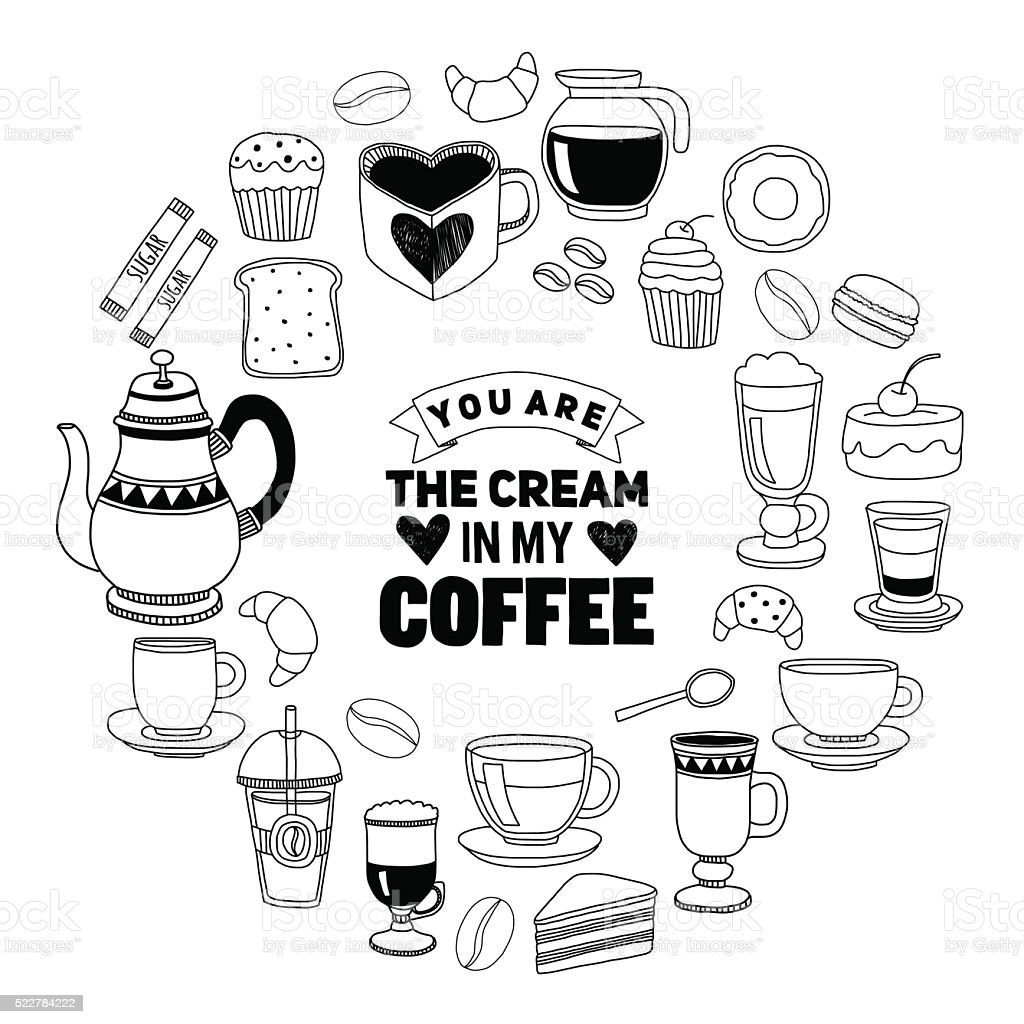 Hand drawn poster with quote about coffee vector art illustration