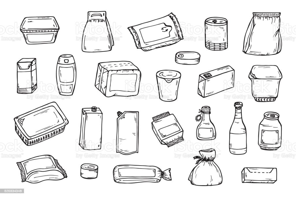 Hand Drawn Product packaging Vector set. Food and drink Packing vector art illustration