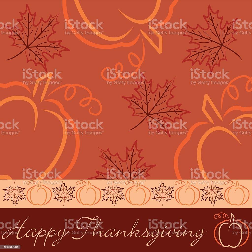 Hand drawn pumpkin and maple leaf Thanksgiving card vector art illustration
