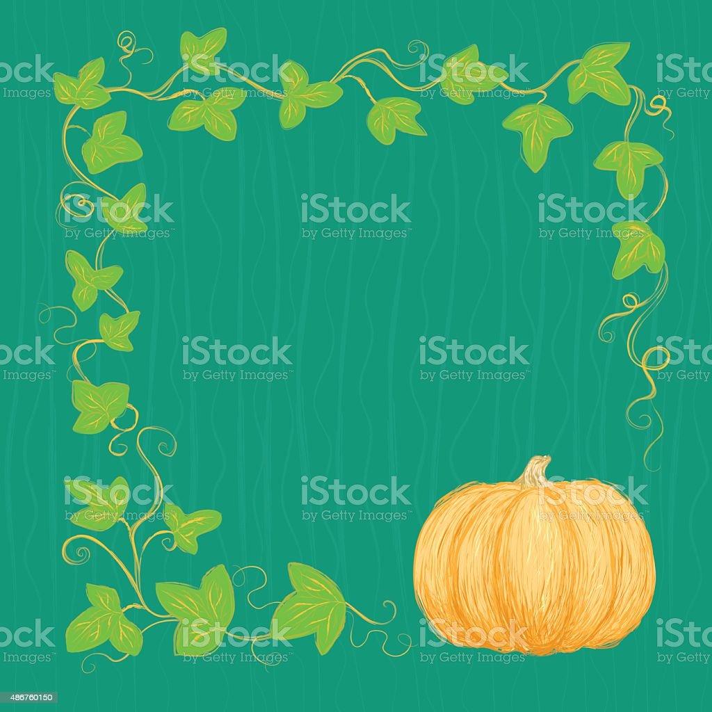 Hand drawn pumpkin and vine vector art illustration