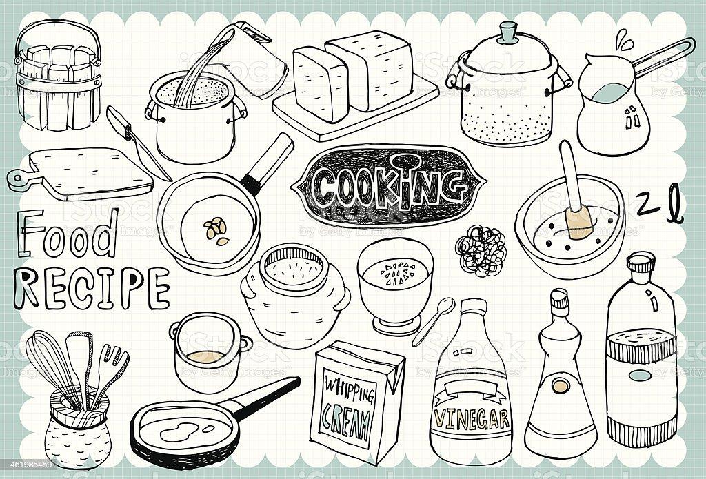 Hand drawn recipe set 01 vector art illustration