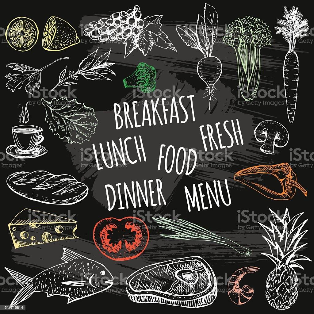 Hand drawn restaurant chalk food on chalkboard background. vector art illustration