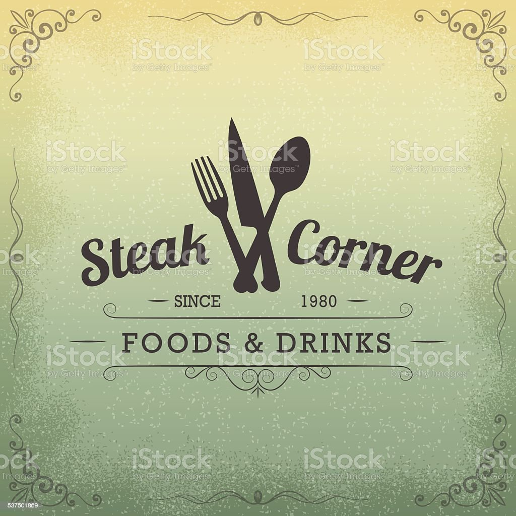 Hand Drawn Restaurant Vintage Label, Design Elements vector art illustration