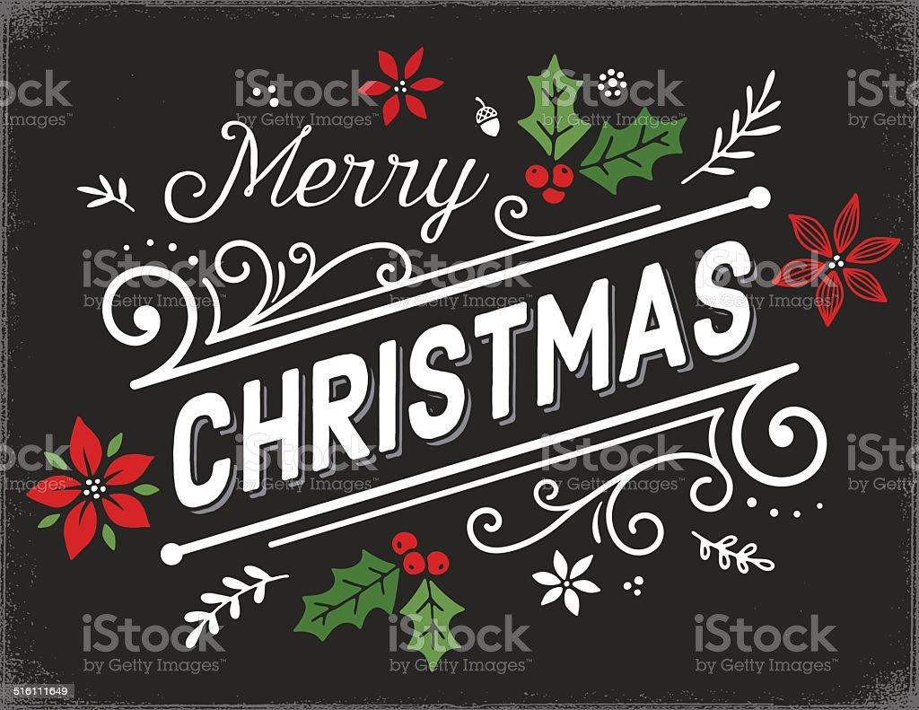Hand Drawn Retro Christmas Card vector art illustration