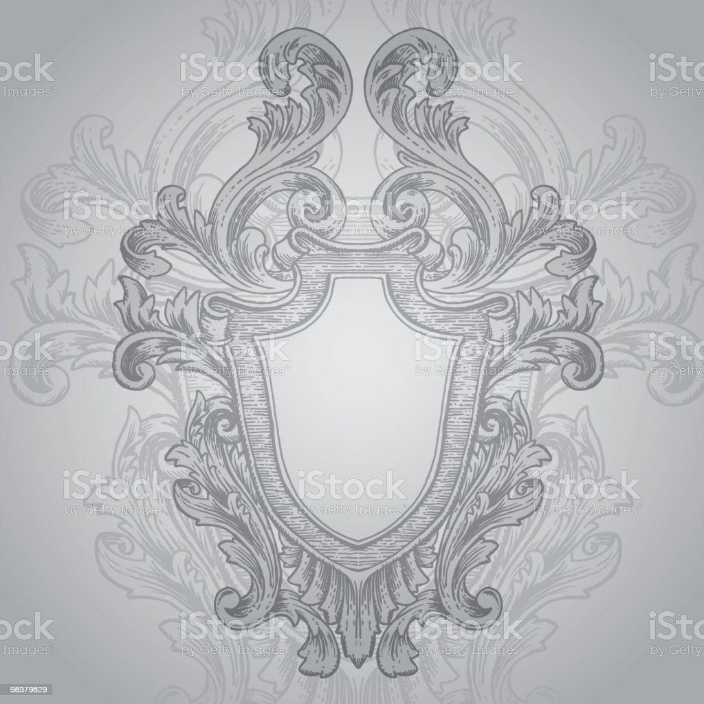 Hand drawn retro heraldry design royalty-free stock vector art
