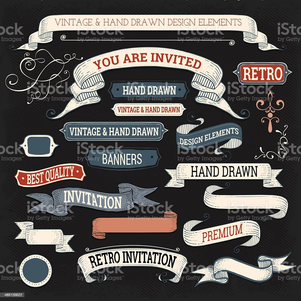 Hand Drawn Retro Labels and Ribbons vector art illustration