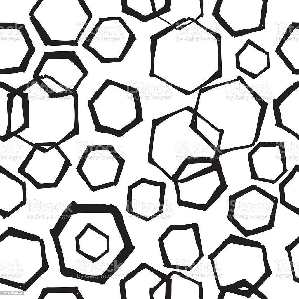Hand Drawn Retro Seamless Hexagon Pattern vector art illustration