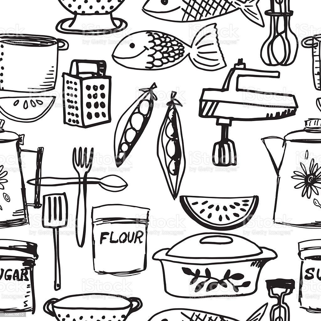 Hand Drawn Retro Seamless Kitchen Gadget Pattern vector art illustration