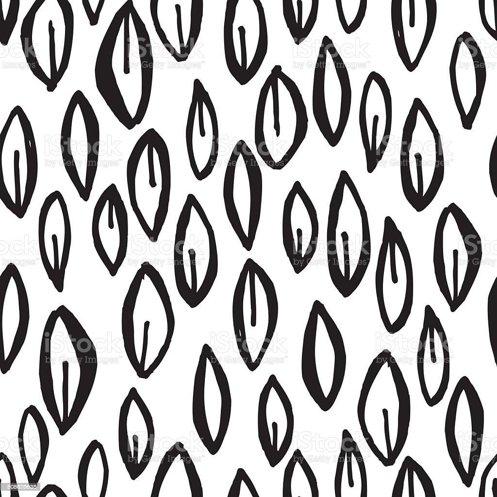 Hand Drawn Retro Seamless Leaf pattern vector art illustration