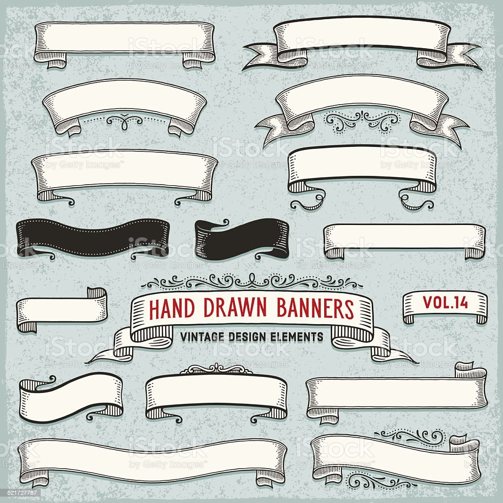 Hand Drawn Ribbon Banners vector art illustration