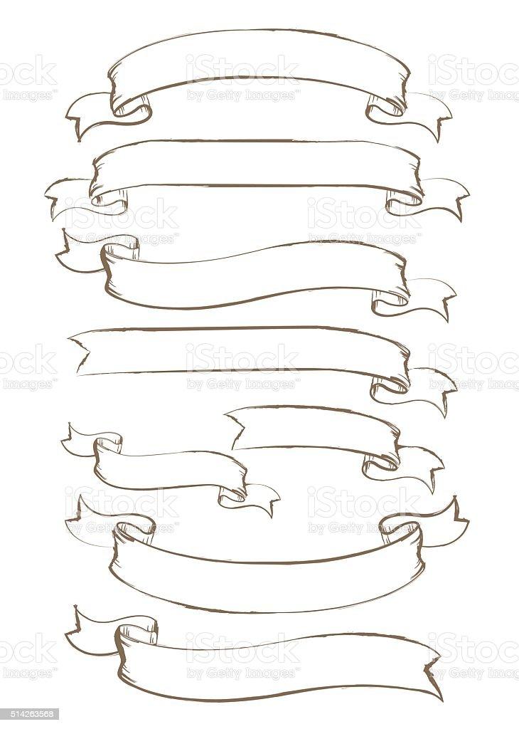 Main dessin e vecteur avec ruban stock vecteur libres de - Dessin banderole ...