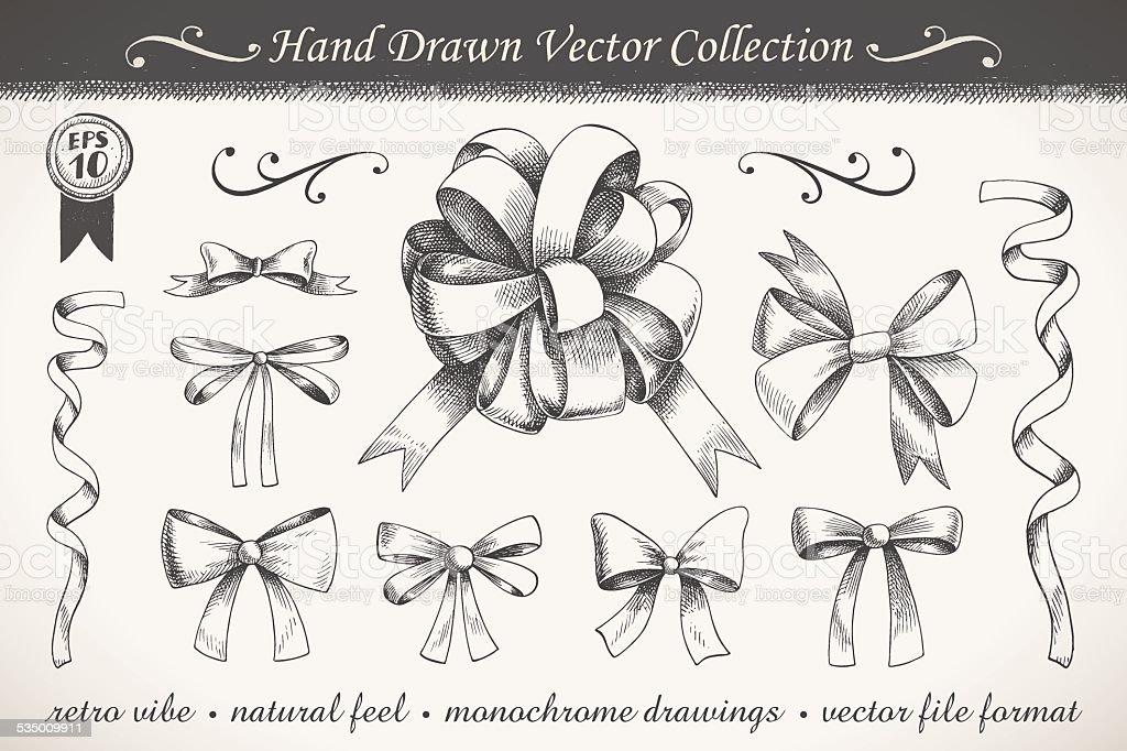 Hand drawn ribbons set vector art illustration