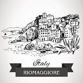 Hand drawn Riomaggiore village