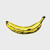 Hand drawn ripe banana