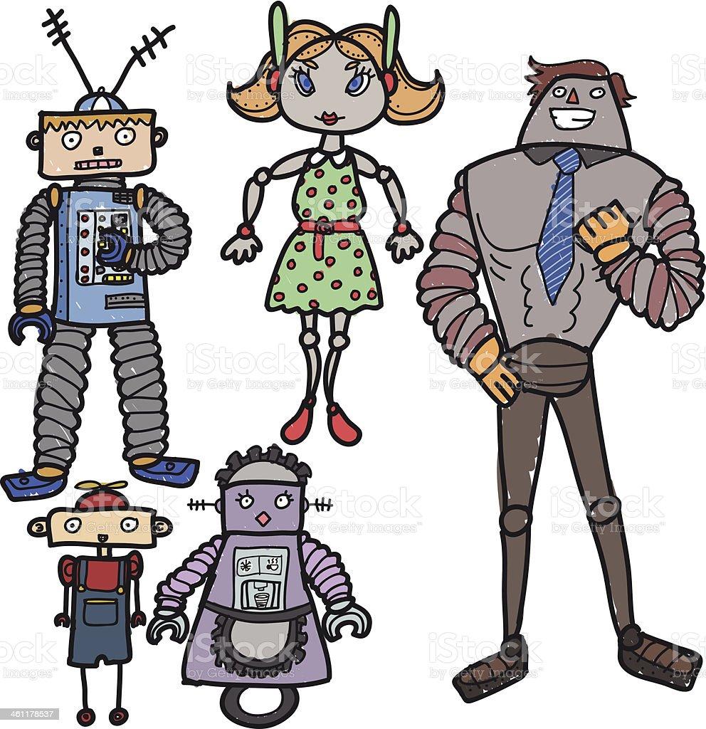 Hand drawn robots royalty-free stock vector art