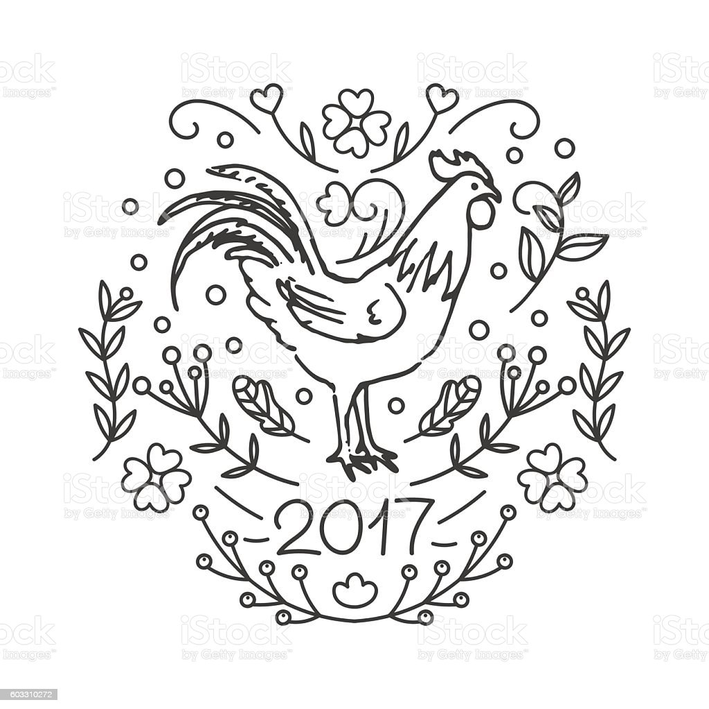 Colouring sheets chinese new year 2017 - 2017 Chinese New Year Of The Cock Royalty Free Stock