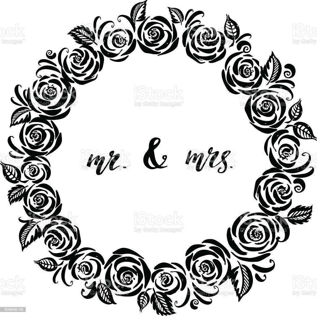 Hand Drawn Ink Rose Flower Frame stock vector art 639896054 iStock