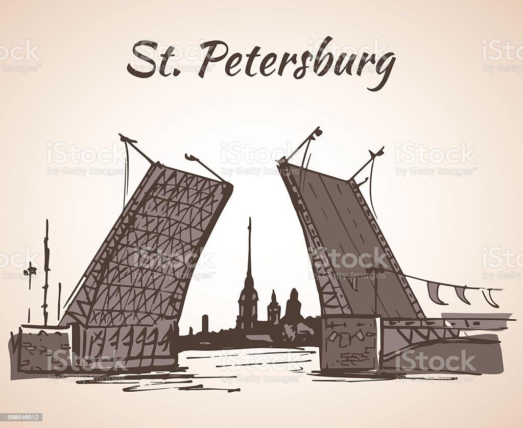 Hand drawn Saint Petersburg bridge and flag vector art illustration