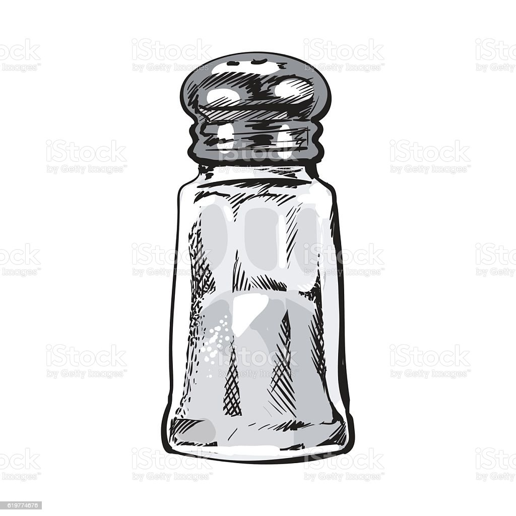 Hand drawn salt mill, shaker, grinder, isolated vector illustration vector art illustration