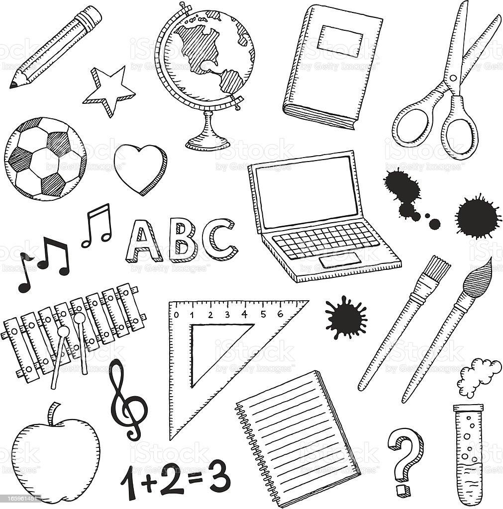Hand Drawn School Icons vector art illustration