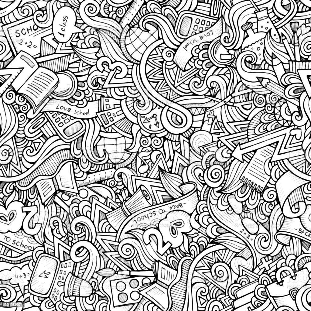 Cartoon doodles hand drawn school seamless pattern