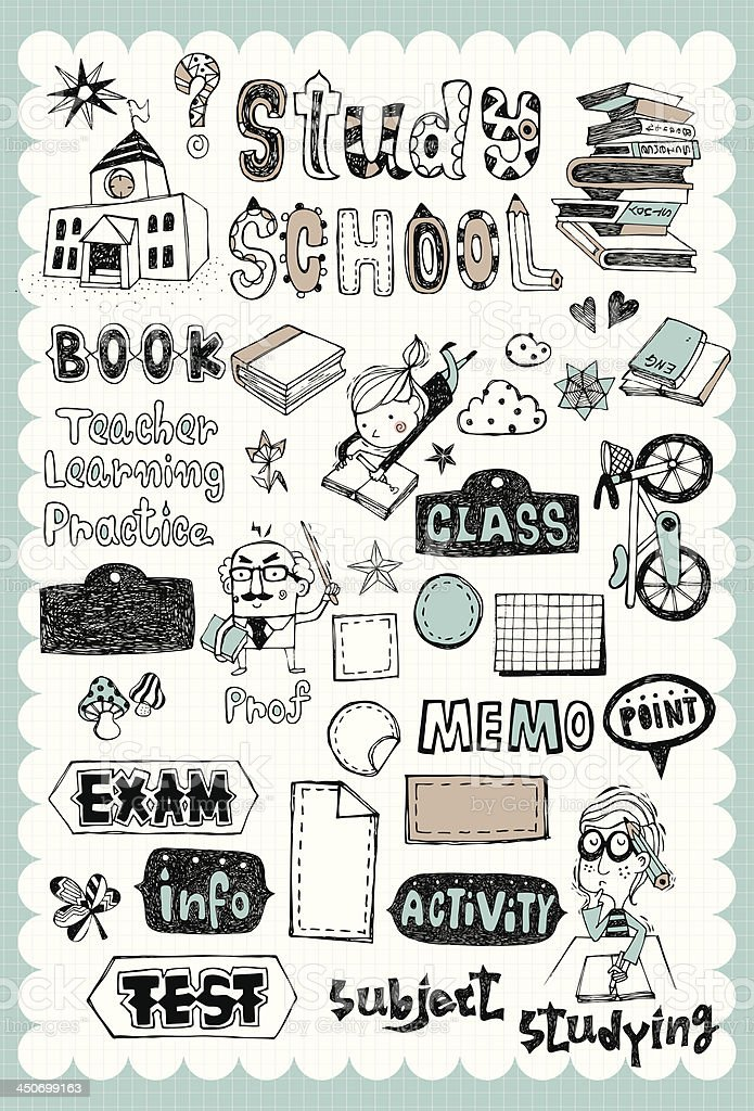Hand drawn school set 01 vector art illustration