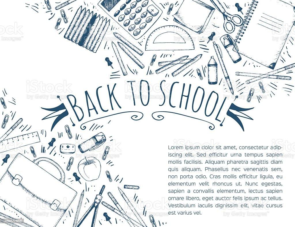 Hand drawn school symbols vector art illustration