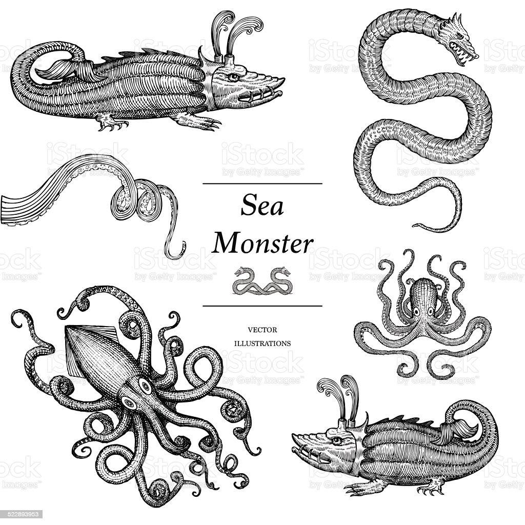 Hand Drawn Sea Monsters vector art illustration