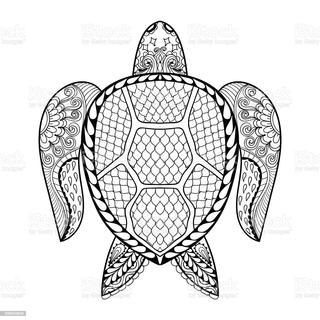 Hand Drawn Sea Turtle For Adult Coloring Pages stock vector art