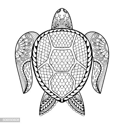 Hand Drawn Sea Turtle For Adult Coloring Pages stock