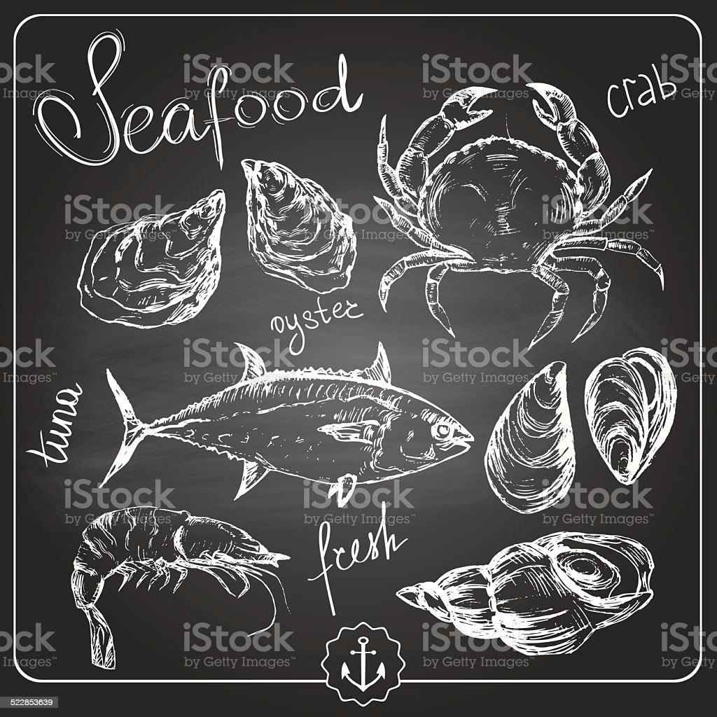 Hand drawn seafood vector art illustration