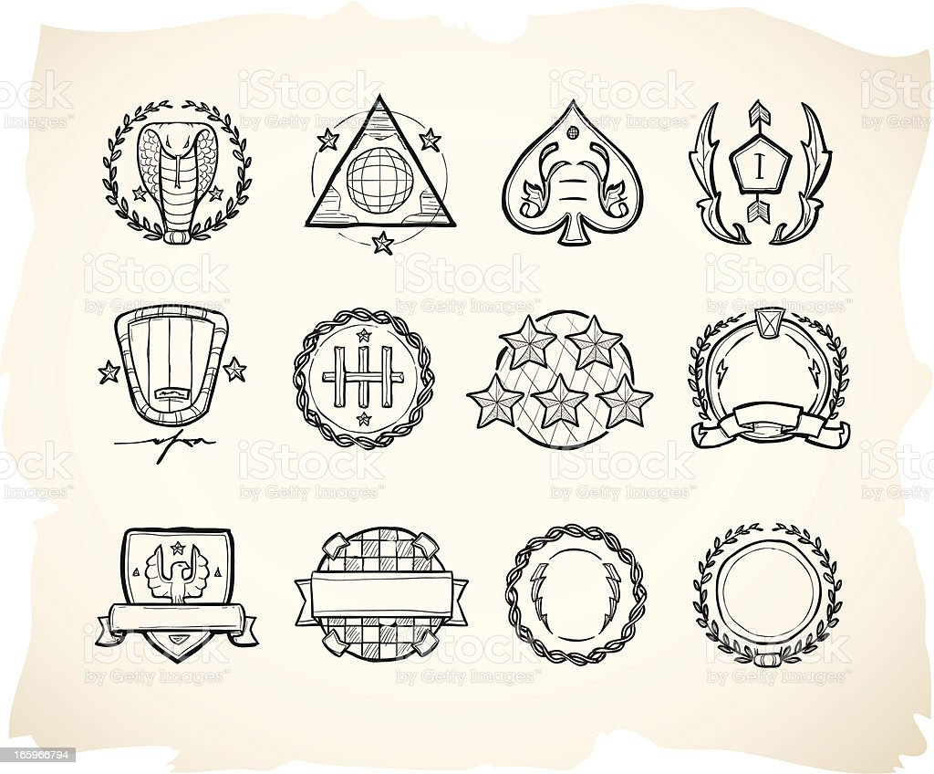 Hand drawn seals and military badges vector art illustration